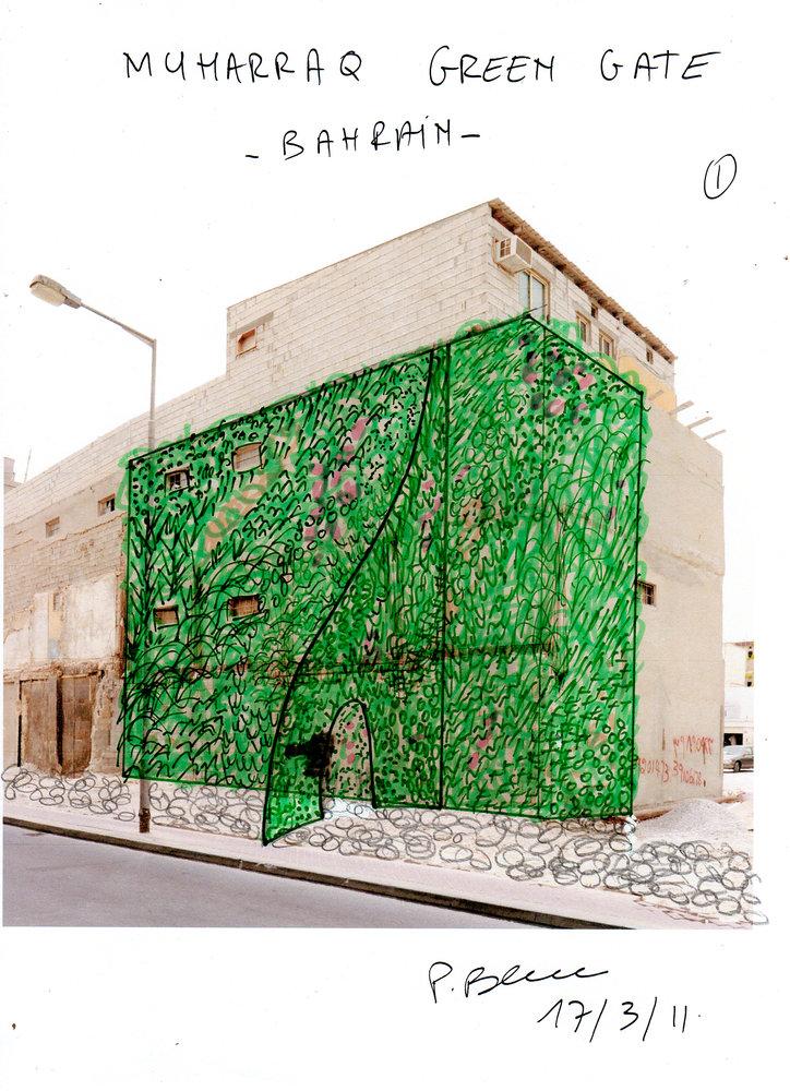 muharraq bahrain green gate mur vegetal patrick blanc. Black Bedroom Furniture Sets. Home Design Ideas